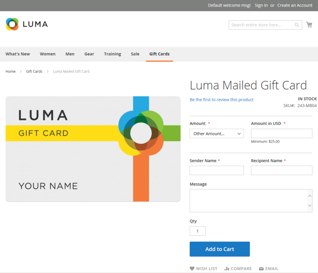 Magento 2 Luma Gift Card