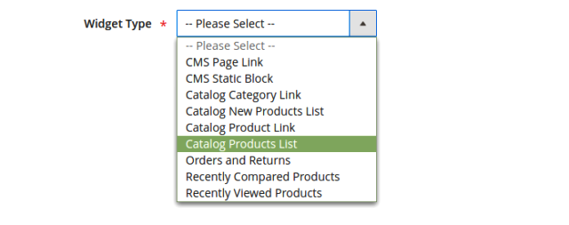 Product Slider, Step 3: Widget Type