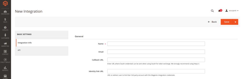 New Integration Magento 2 admin panel