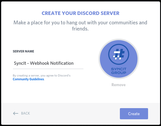 Creating a Discord server name and image