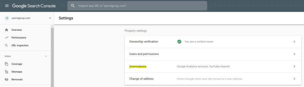 Screenshot, Google Search Console, Settings, Associations  page