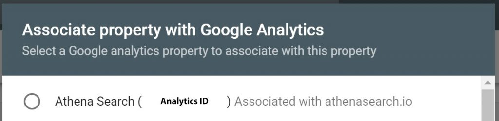 Screenshot, Associate property with Google Analytics page