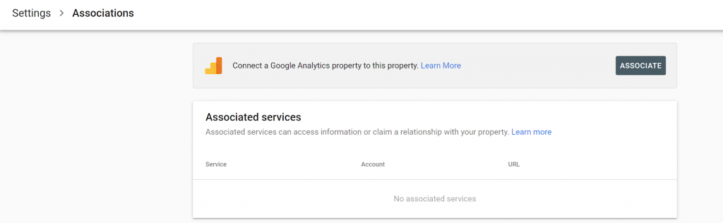 Screenshot, Google Search Console, Settings page
